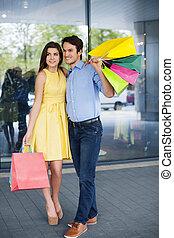 肖像, ......的, 時裝, 夫婦, 上, the, 購物