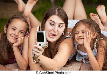 肖像, ......的, 母親, 以及, 女兒, 做 面孔, 上, 自己, 射擊