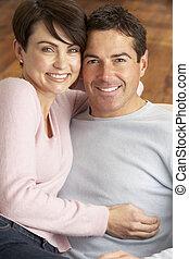 肖像, ......的, 浪漫, 年輕夫婦