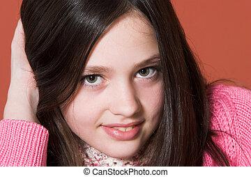 肖像, ......的, 漂亮的女孩
