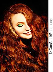 肖像, ......的, 紅色, 卷曲的頭髮麤毛交織物, 女孩, 時裝, model., redhead, 婦女