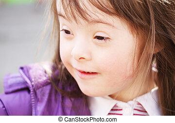 肖像, ......的, 美麗, 年輕的女孩微笑, 在公園