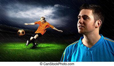 肖像, ......的, 足球運動員, 上, the, 領域, 在, 夜晚, 雨