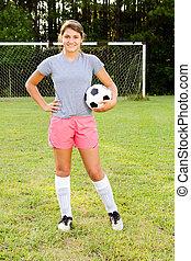 肖像, ......的, 青少年的 女孩, 足球運動員, 上, 領域