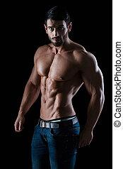 肖像, ......的, a, 健身, 人, 由于, 肌肉, 身體