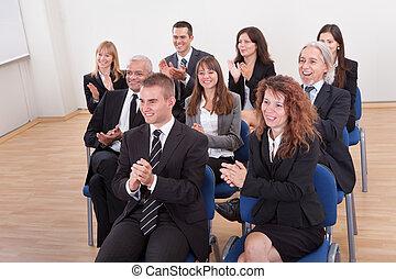 肖像, ......的, a, 商人, 以及, 婦女, 在, 討論會