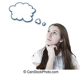 肖像, ......的, a, 女孩, 認為, 由于, a, 雲