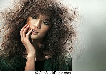 肖像, ......的, a, 完美, 黑發淺黑膚色女子, 美麗