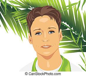 肖像, ......的, a, 年輕人, 在中間, 棕櫚