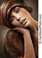 肖像, ......的, a, 年輕婦女, 由于, 長的頭髮麤毛交織物
