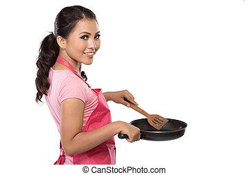 肖像, ......的, a, 年輕, 家庭主婦, 准備好, 為了烹調
