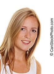 肖像, ......的, a, 年輕, 白膚金發碧眼的人, 婦女, 由于, 雀斑, 上, a, 白色 背景