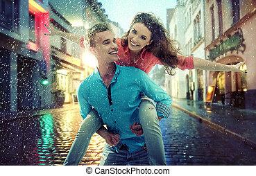 肖像, ......的, a, 快樂, 年輕夫婦