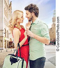 肖像, ......的, a, 浪漫, 年輕夫婦