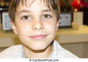 肖像, ......的, a, 漂亮, 年輕男孩, 人物面部影像逼真