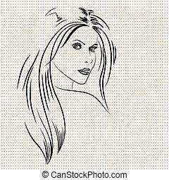 肖像, ......的, a, 美麗的婦女