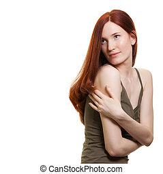 肖像, ......的, a, 美麗, 年輕婦女, 由于, 令人惊嘆, 頭髮