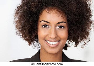 肖像, ......的, a, 美麗, 非裔美國人 婦女