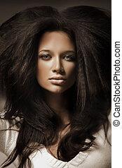 肖像, ......的, a, 美麗, 黑發淺黑膚色女子