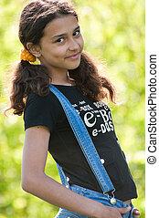 肖像, ......的, a, 青少年的 女孩, 上, 自然