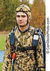 肖像, ......的, the, guy-parachutist, 在, a, 偽裝
