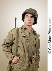肖像, 美国人, 年轻, 士兵, ww2