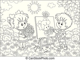 肖像, 美麗, 畫家, 很少