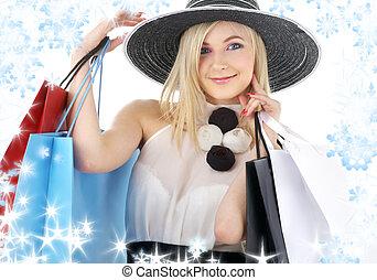 肖像, 袋子, blonde, 购物, 帽子