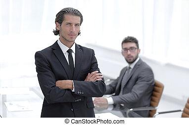 肖像, 辦公室, 站立, 商人