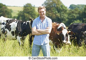 肖像, 領域, 農夫, 奶牛