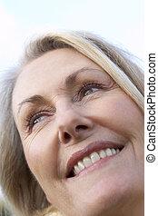 肖像, 高级妇女, 微笑