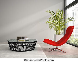 肘掛け椅子, 内部, 部分, 3d, レンダリング, 赤