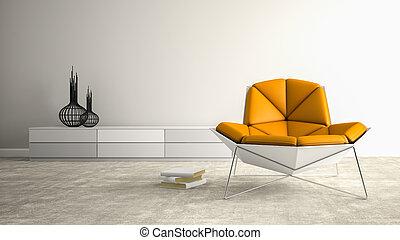 肘掛け椅子, 現代, レンダリング, 部分, 内部, 3d