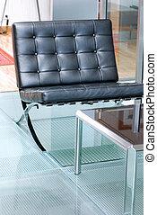 肘掛け椅子, 現代, 黒, ガラス, 床