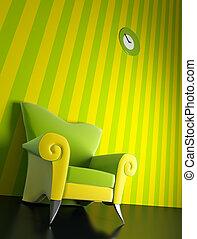 肘掛け椅子, 現代, 3d, レンダリング