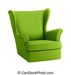 肘掛け椅子, 白, 緑の背景