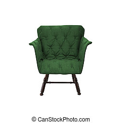 肘掛け椅子, 白, 緑, 隔離された, 背景