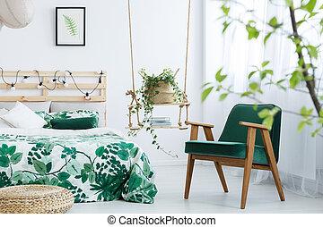 肘掛け椅子, 緑, ケール, 寝室