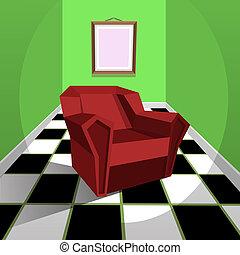 肘掛け椅子, 赤