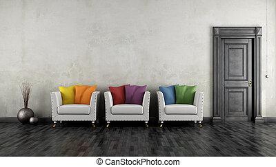 肘掛け椅子, 部屋, 型, カラフルである