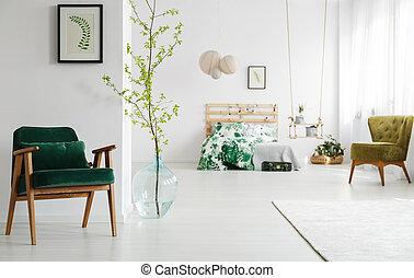 肘掛け椅子, 開いた, 緑, 寝室