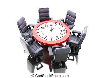 肘掛け椅子, 3d, テーブル, オフィス時計