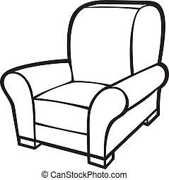肘掛け椅子, (leather, タブ, chair)