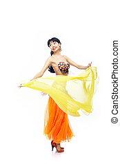 肚子, 跳舞, 由于, 黃色, 織品