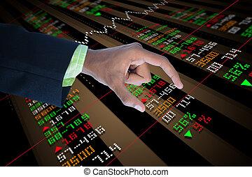 股票, 触, 圖表, 商人