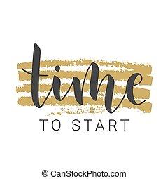 股票, illustration., 手寫, 字母, 時間, start., 矢量