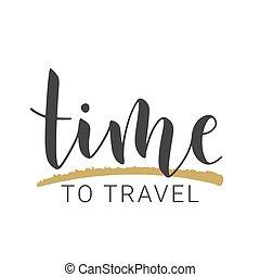 股票, travel., 矢量, 時間, 字母, 手寫, illustration.