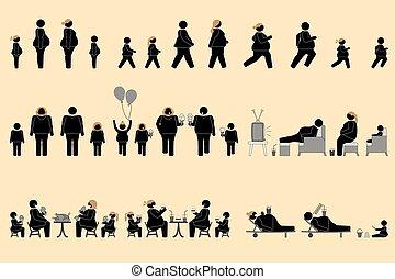 肥り過ぎである, 食欲, よい, 人々, pictogram