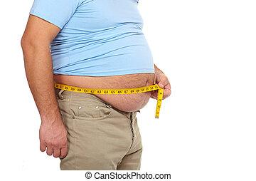 肥胖的人, 由于, a, 大, belly.