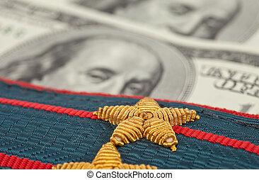 肩ベルト, の, ロシア人, 警察, 上に, お金, 背景